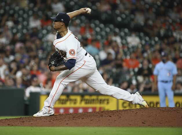Houston Astros starting relief Bryan Abreu (66) pitches during the eighth inning of an MLB game Saturday, May 8, 2021, at Minute Maid Park in Houston. Photo: Jon Shapley/Staff Photographer / © 2021 Houston Chronicle