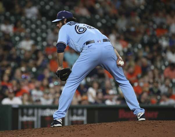 Toronto Blue Jays relief pitcher Jordan Romano (68) pitches during the eighth inning of an MLB game Saturday, May 8, 2021, at Minute Maid Park in Houston. Photo: Jon Shapley/Staff Photographer / © 2021 Houston Chronicle