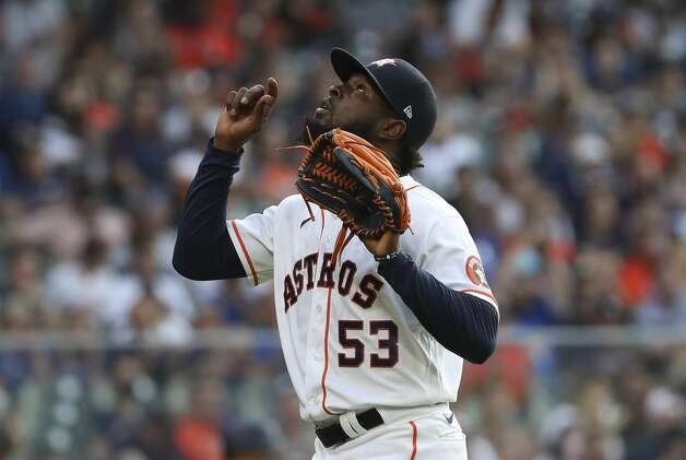 Houston Astros starting pitcher Cristian Javier (53) gestures towards the sky during the third inning of an MLB game Saturday, May 8, 2021, at Minute Maid Park in Houston. Photo: Jon Shapley/Staff Photographer / © 2021 Houston Chronicle