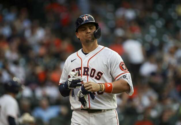 Houston Astros left fielder Aledmys Diaz (16) reacts after getting out to close out the third inning of an MLB game Saturday, May 8, 2021, at Minute Maid Park in Houston. Photo: Jon Shapley/Staff Photographer / © 2021 Houston Chronicle