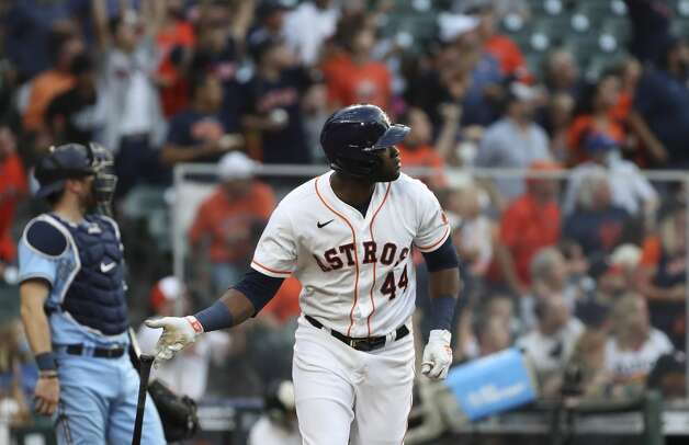 Houston Astros designated hitter Yordan Alvarez (44) watches his home run ball during the fourth inning of an MLB game Saturday, May 8, 2021, at Minute Maid Park in Houston. Photo: Jon Shapley/Staff Photographer / © 2021 Houston Chronicle