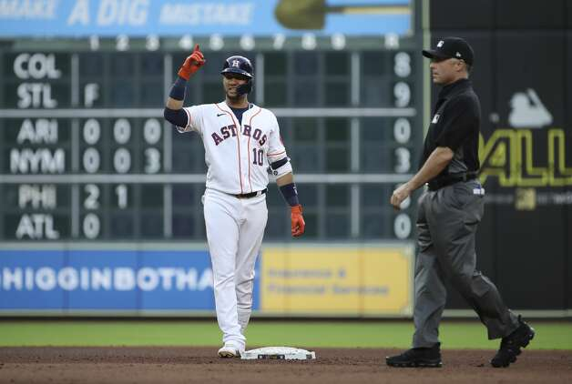 Houston Astros first baseman Yuli Gurriel (10) celebrates after hitting a double during the fourth inning of an MLB game Saturday, May 8, 2021, at Minute Maid Park in Houston. Photo: Jon Shapley/Staff Photographer / © 2021 Houston Chronicle