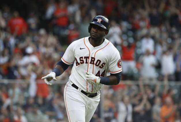 Houston Astros designated hitter Yordan Alvarez (44) rounds the bases after hitting a home run during the fourth inning of an MLB game Saturday, May 8, 2021, at Minute Maid Park in Houston. Photo: Jon Shapley/Staff Photographer / © 2021 Houston Chronicle