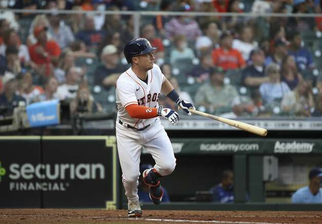 Houston Astros third baseman Alex Bregman (2) doubles during the fourth inning of an MLB game Saturday, May 8, 2021, at Minute Maid Park in Houston. Photo: Jon Shapley/Staff Photographer / © 2021 Houston Chronicle