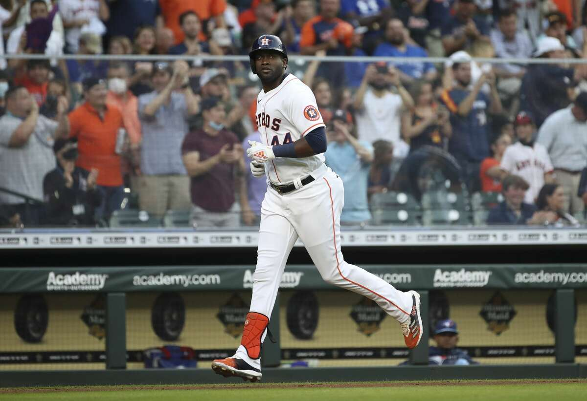 Houston Astros designated hitter Yordan Alvarez (44) rounds the bases after hitting a home run during the fourth inning of an MLB game Saturday, May 8, 2021, at Minute Maid Park in Houston.