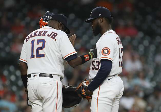 Houston Astros manager Dusty Baker Jr. (12) removes starting pitcher Cristian Javier (53) from the game during the sixth inning of an MLB game Saturday, May 8, 2021, at Minute Maid Park in Houston. Photo: Jon Shapley/Staff Photographer / © 2021 Houston Chronicle