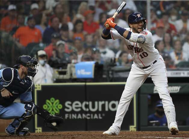 Houston Astros first baseman Yuli Gurriel (10) gets brushed back from a pitch by Toronto Blue Jays starting pitcher Steven Matz (22) during the fifth inning of an MLB game Saturday, May 8, 2021, at Minute Maid Park in Houston. Photo: Jon Shapley/Staff Photographer / © 2021 Houston Chronicle