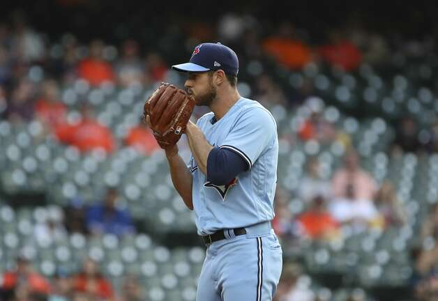 Toronto Blue Jays starting pitcher Steven Matz (22) pitches during the first inning of an MLB game Saturday, May 8, 2021, at Minute Maid Park in Houston. Photo: Jon Shapley/Staff Photographer / © 2021 Houston Chronicle