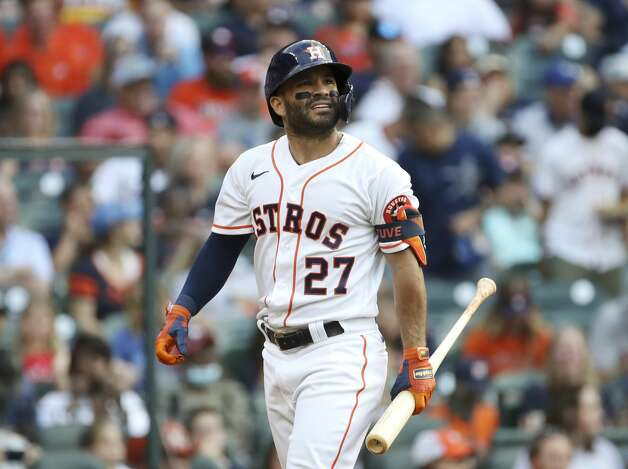 Houston Astros second baseman Jose Altuve (27) reacts after striking out during the first inning of an MLB game Saturday, May 8, 2021, at Minute Maid Park in Houston. Photo: Jon Shapley/Staff Photographer / © 2021 Houston Chronicle