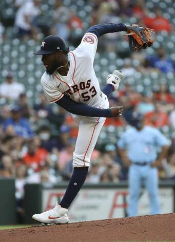 Houston Astros starting pitcher Cristian Javier (53) pitches during the first inning of an MLB game Saturday, May 8, 2021, at Minute Maid Park in Houston. Photo: Jon Shapley/Staff Photographer / © 2021 Houston Chronicle