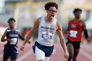 Connor Washington of College Park reacts after winning the boys 200-meter dash during the Class 6A UIL Track and Field Championships at Mike A. Myers Stadium, Saturday, May 8, 2021, in Austin.