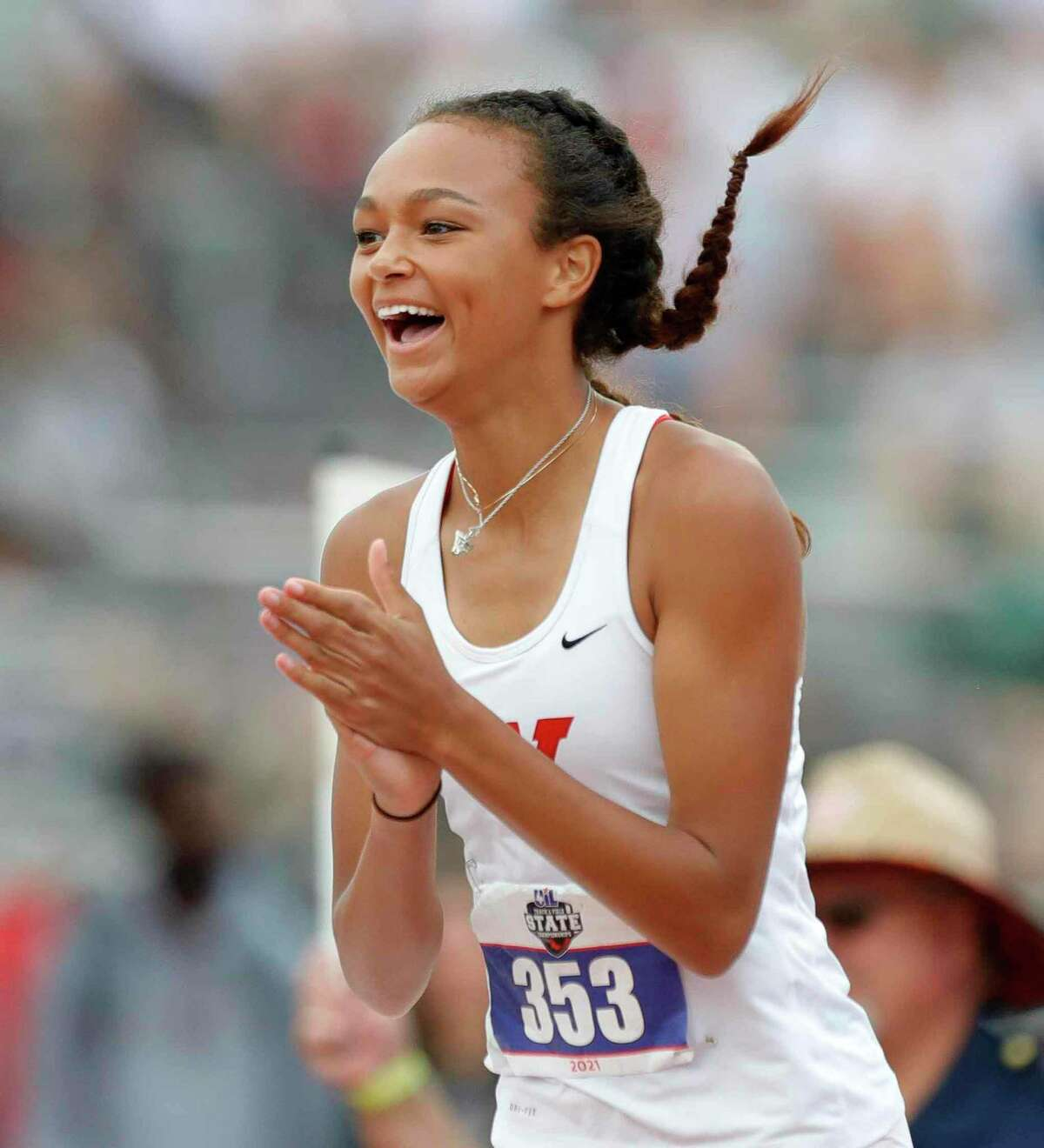 Kennedy Doakes of The Woodlands reacts after finishing first in the girls high jump during the Class 6A UIL Track and Field Championships at Mike A. Myers Stadium, Saturday, May 8, 2021, in Austin.