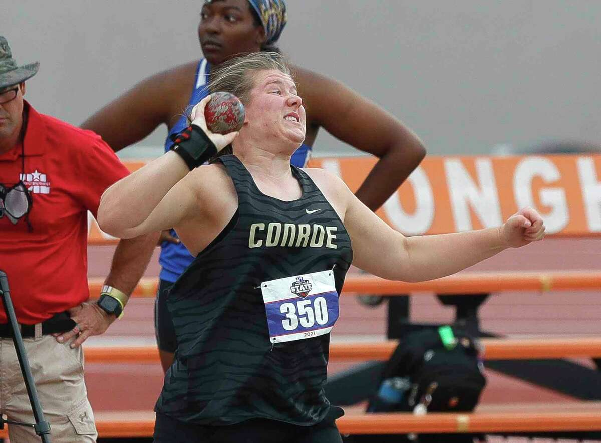 Lilly Rodeo of Conroe competes in the girls shot put during the Class 6A UIL Track and Field Championships at Mike A. Myers Stadium, Saturday, May 8, 2021, in Austin.