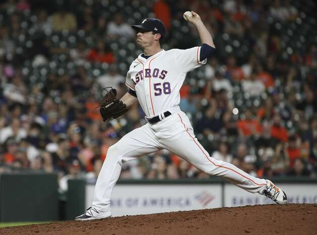 Houston Astros relief pitcher Brooks Raley (58) pitches during the ninth inning of an MLB game Saturday, May 8, 2021, at Minute Maid Park in Houston. Photo: Jon Shapley/Staff Photographer / © 2021 Houston Chronicle