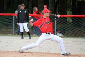 Nate Sanderson starts the second game against Glen Lake on May 8. (Robert Myers/News Advocate)