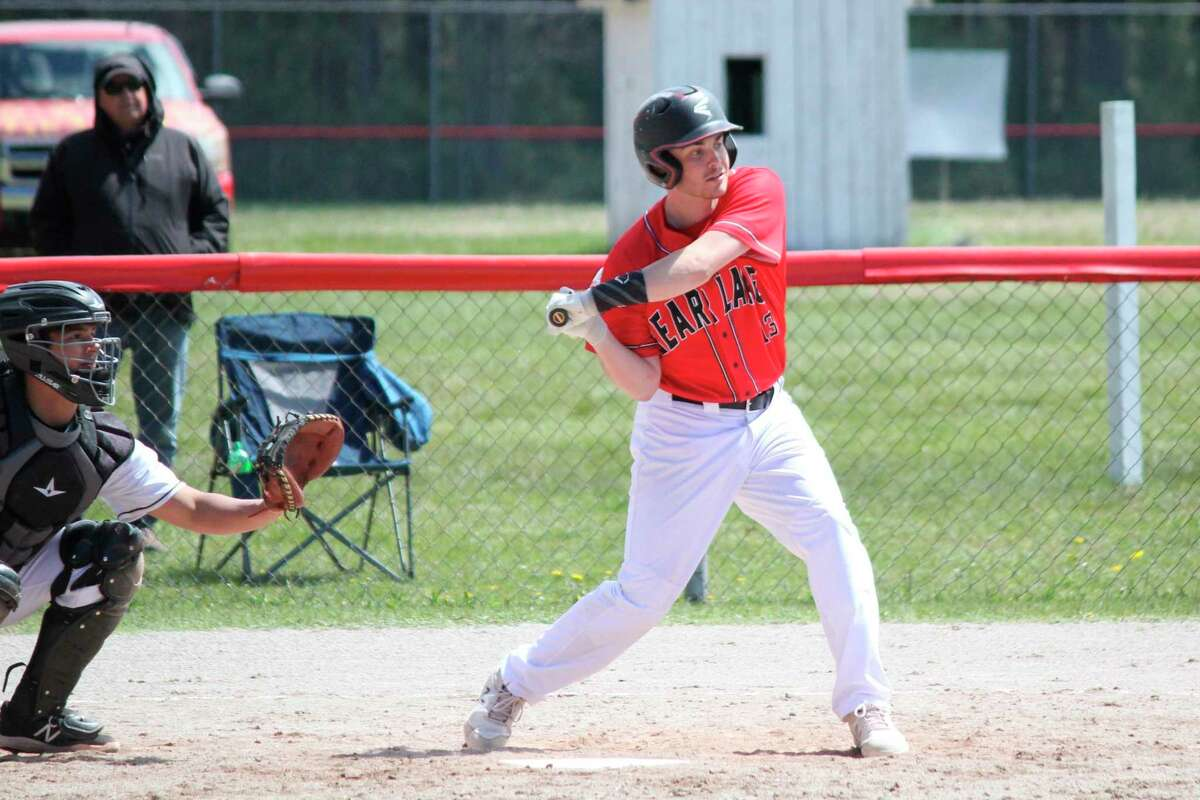 Jake Griffis loads up for a swing against Glen Lake on May 8. (Robert Myers/News Advocate)