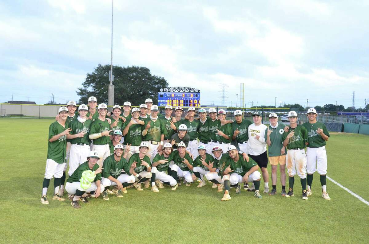The Stratford baseball team poses after beating Bellaire 9-2 in the third game of a best-of-three bi-district playoff series on May 8 at Butler Stadium