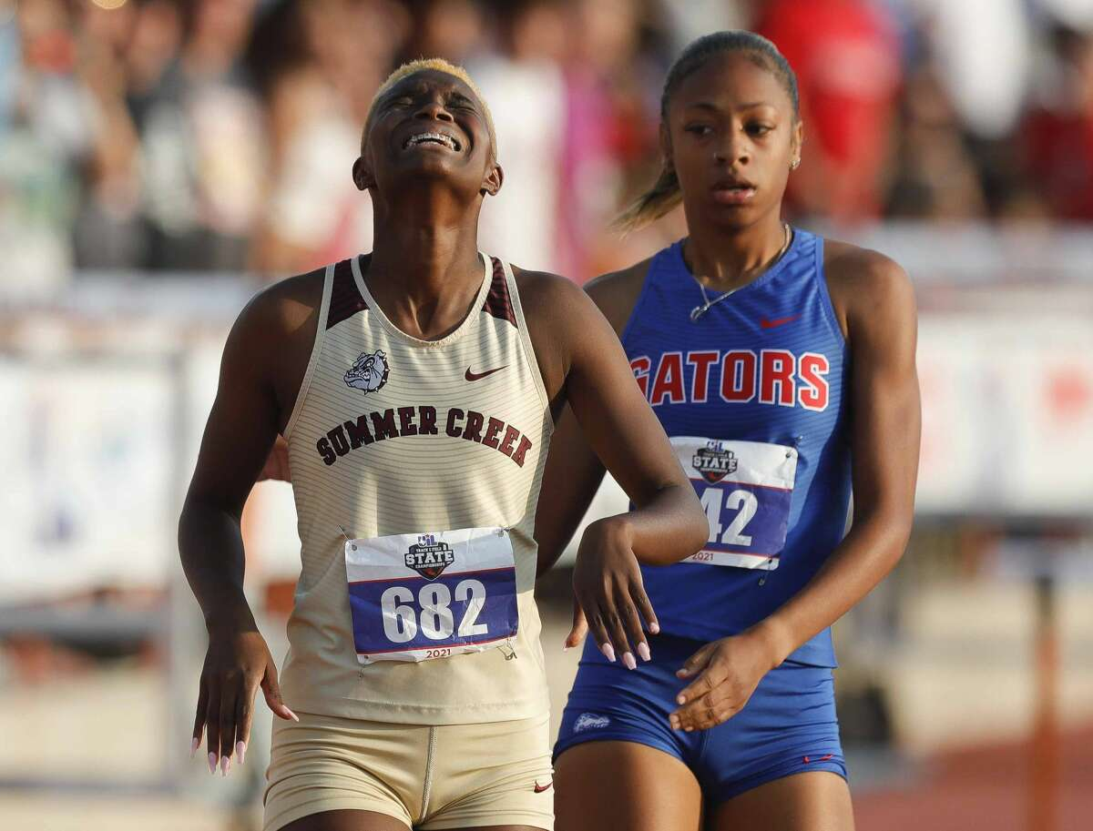 Morgan Taylor of Summer Creek reacts after winning the girls 300-meter hurdles during the Class 6A UIL Track and Field Championships at Mike A. Myers Stadium, Saturday, May 8, 2021, in Austin.