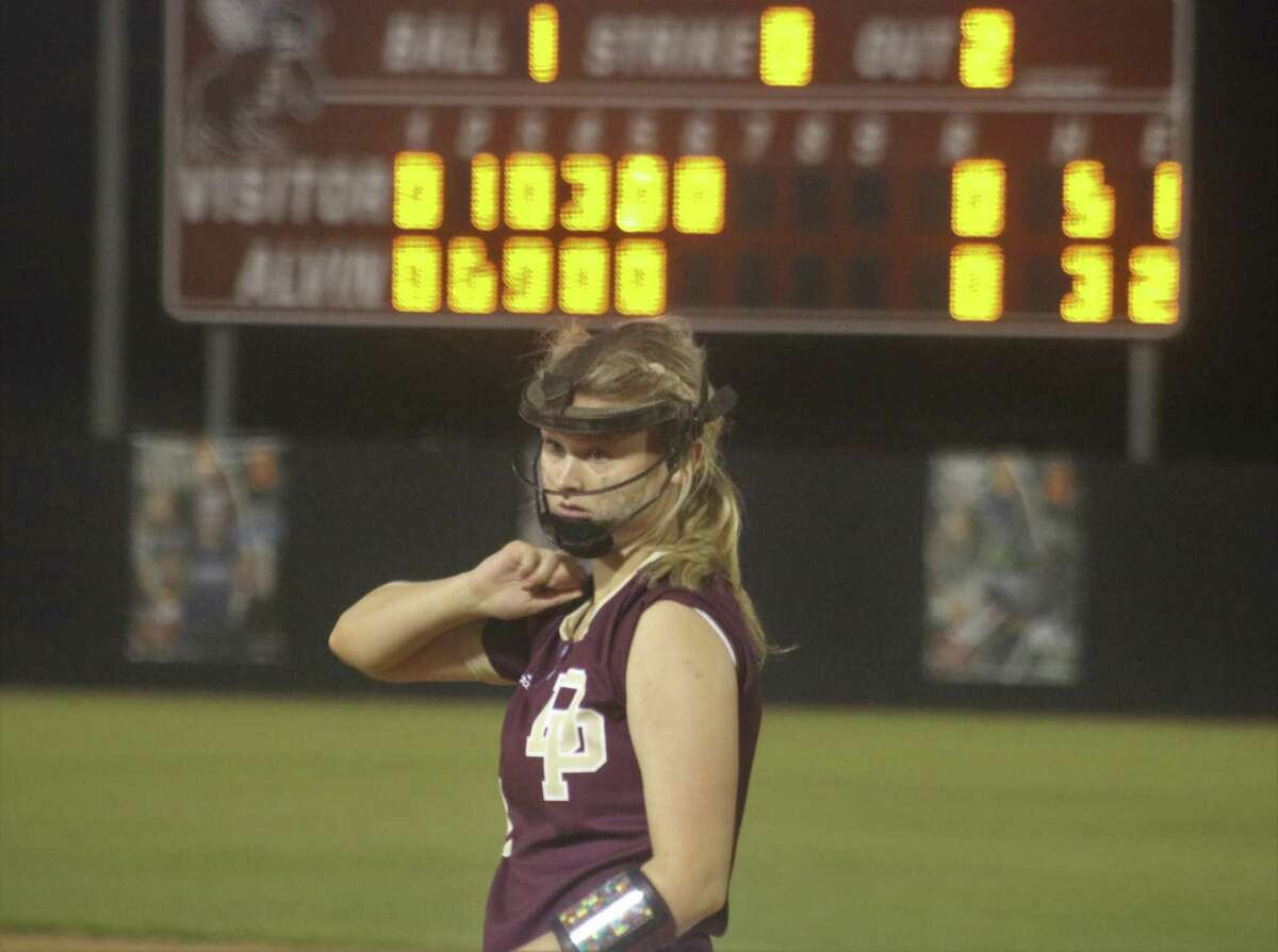 Deer Park first baseman Haley Wilkerson listens to instructions on the next Pearland batter. Seconds later, she was gloving a line drive to end the sixth inning.