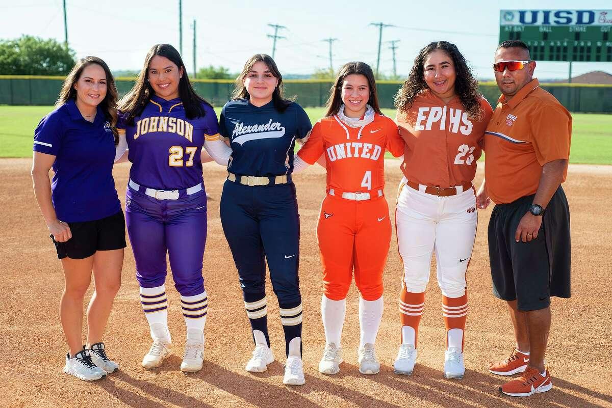 All-District 30-6A honorees Whitney Dupuis, Alyzza Campos, Samantha Arce, Eva Garcia, Kaylynne Ruiz and Oscar Ruiz gather for a photo.