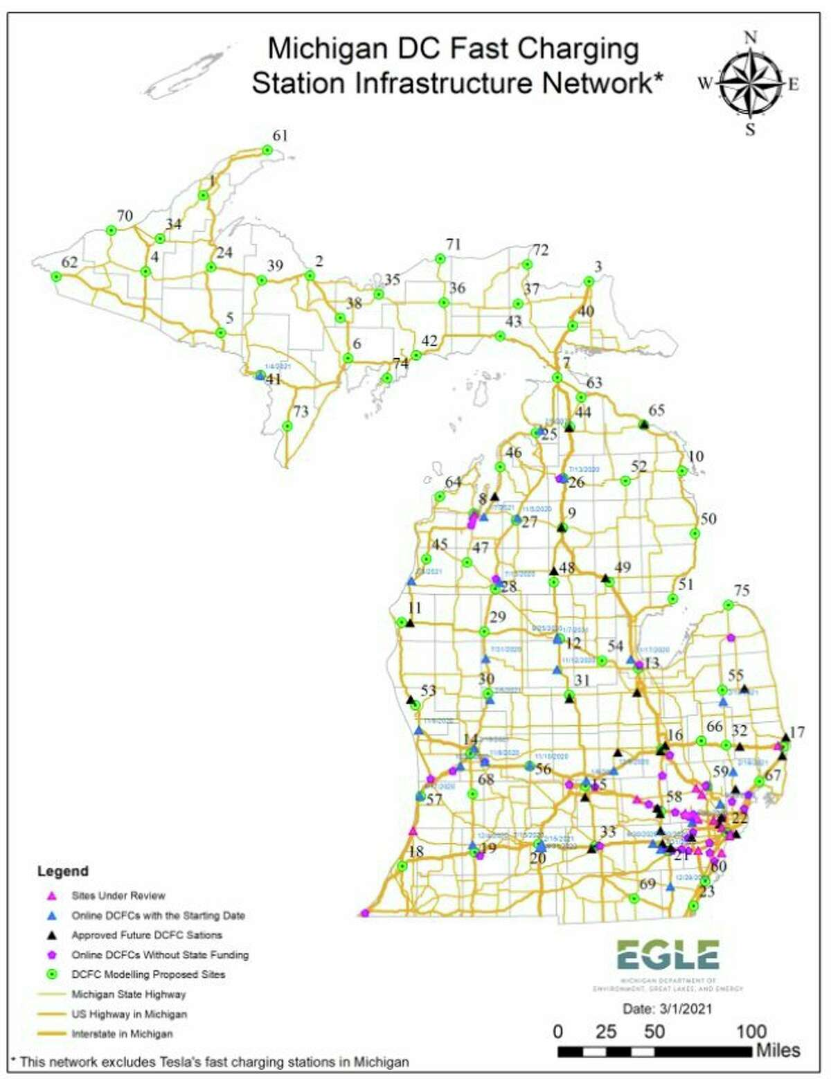 TheMichigan Department of Environment, Great Lakes, and Energy plans tofocus on filling gaps where proposed electric vehicle charging locations are still open in the state, especially in the Upper Peninsula, to form a fast-charging loop around Lake Michigan in conjunction with other states.(Courtesy map/EGLE )