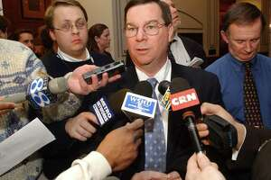 In a 2004 file photo, then-House Minority Leader Robert Ward of North Branford spoke to reporters.