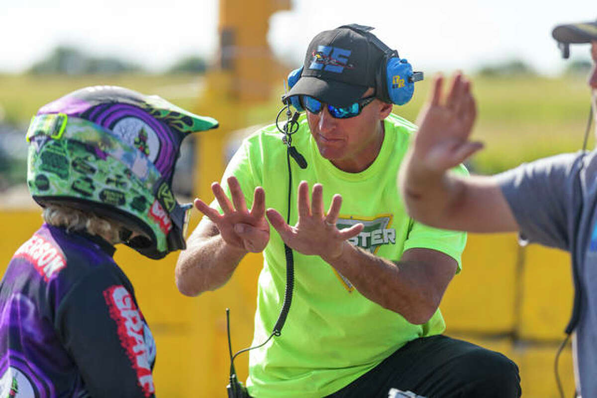 Monster Jam driver and instructor Tom Meents, 53, who runs Monster Jam University in Paxton, with a student pre-COVID at the central Illinois facility.