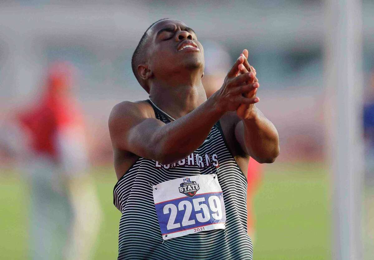 Bryce McCray of George Ranch reacts after winning the boys 300-meter hurdles during the Class 6A UIL Track and Field Championships at Mike A. Myers Stadium, Saturday, May 8, 2021, in Austin.