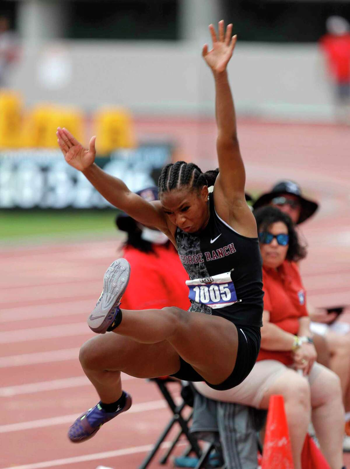 Alexis Tilford-Rutherford of George Ranch competes in the girls long jump during the Class 6A UIL Track and Field Championships at Mike A. Myers Stadium, Saturday, May 8, 2021, in Austin.