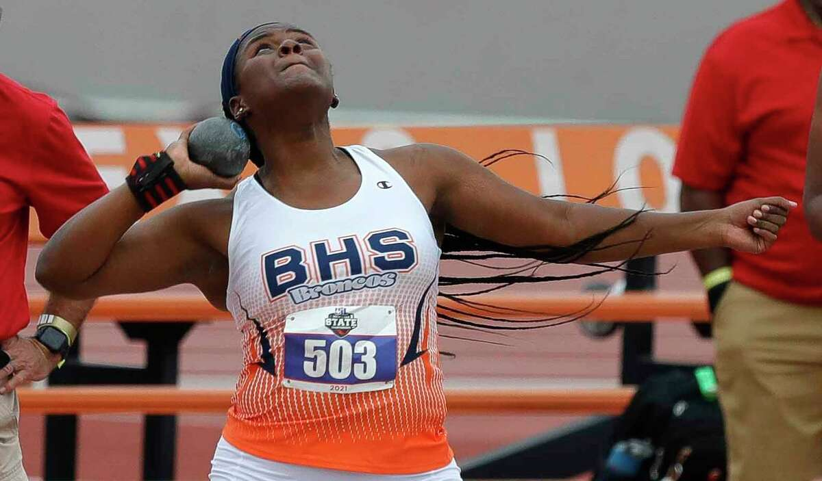 Arianna Stegall of Fort Bend Bush competes in the girls shot put during the Class 6A UIL Track and Field Championships at Mike A. Myers Stadium, Saturday, May 8, 2021, in Austin.