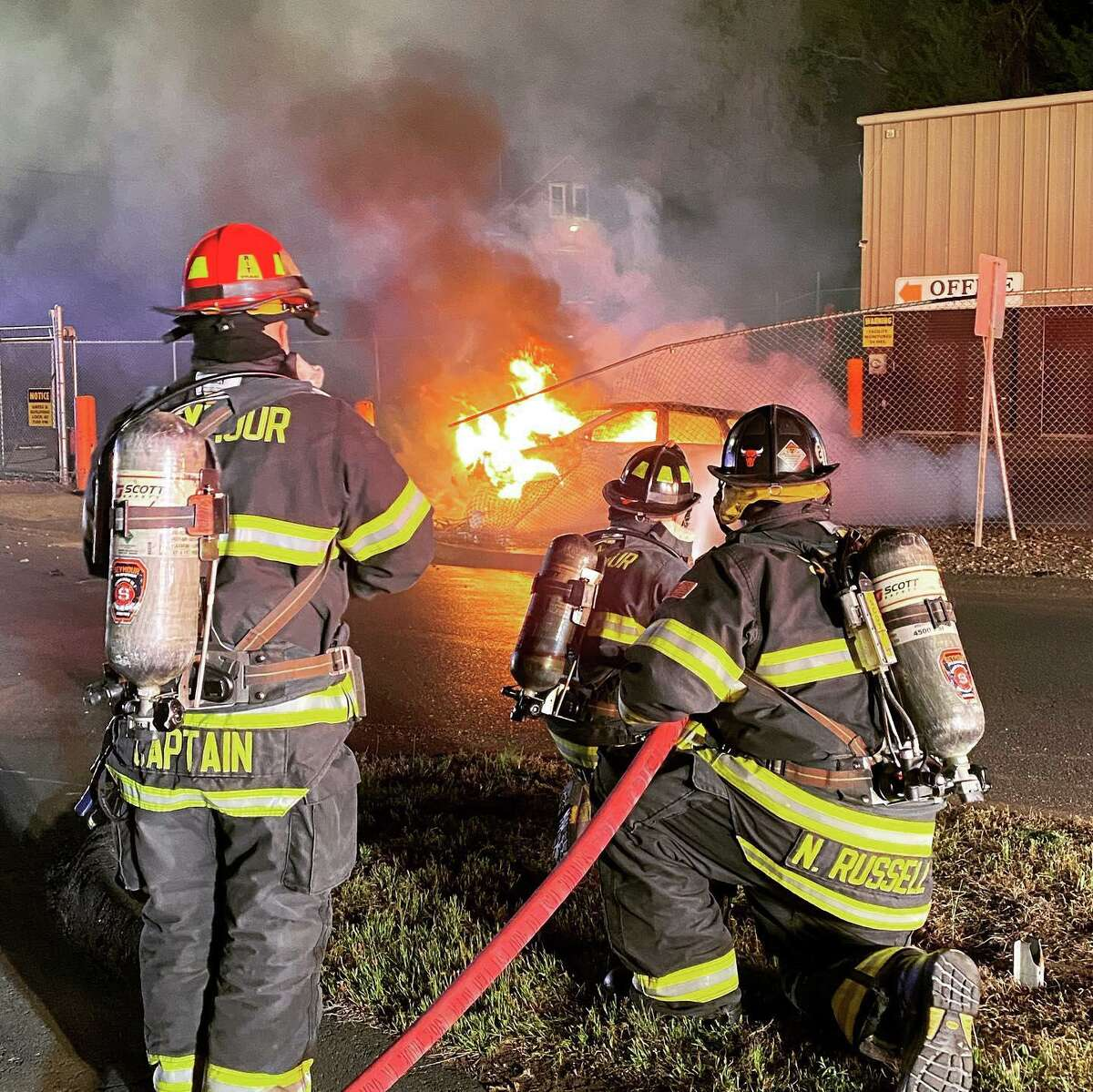 Seymour Fire Department arrives at car fire at 12:30 a.m. Saturday.