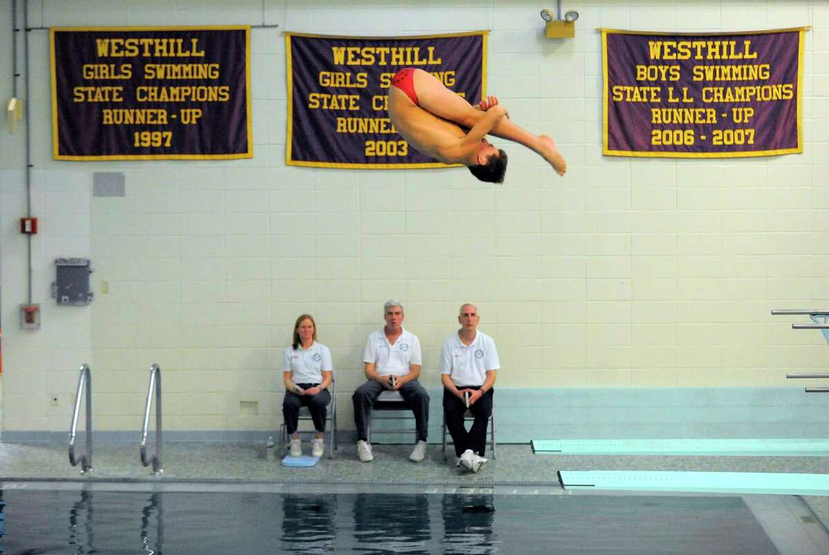 A diving championship at Westhill High School pool in Stamford, Conn. on March 1, 2017.