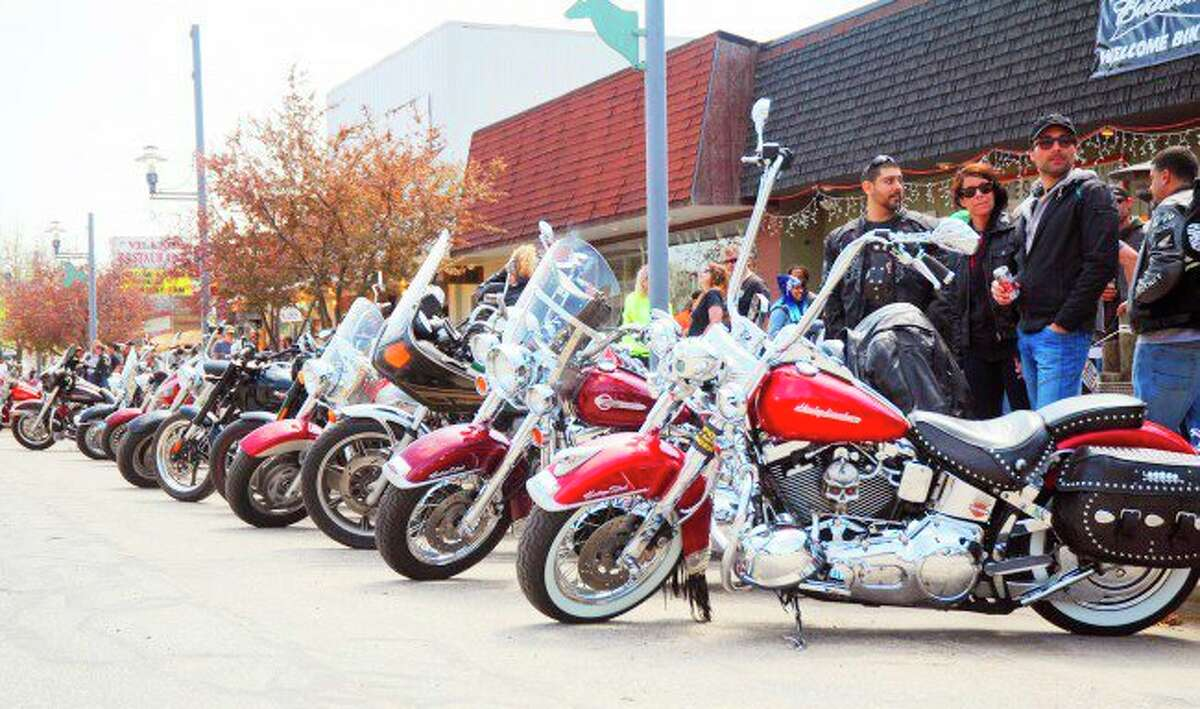 In this Star file photo, motorcycles line downtown Baldwin for the annual Blessing of the Bikes event. This year's event will begin Thursday, May 13 and run through Sunday, May 16.