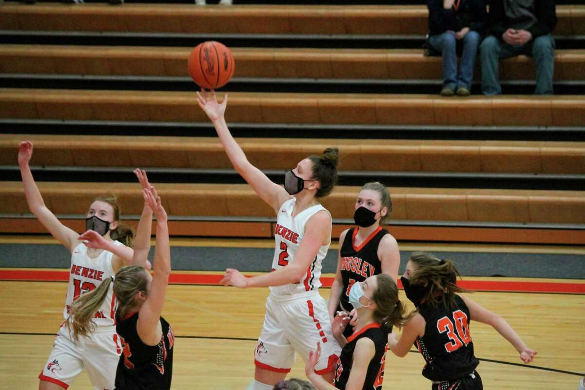Ellen Bretzke scores for the Huskies during a win over Kingsley on her way to an all-state season. (Record Patriot file photo)