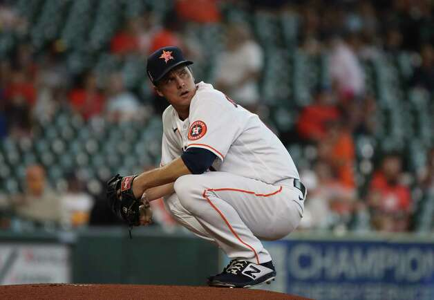 Houston Astros starting pitcher Zack Greinke (21) prepares to pitch during the first inning of an MLB game Sunday, May 9, 2021, at Minute Maid Park in Houston. Photo: Jon Shapley, Staff Photographer / © 2021 Houston Chronicle