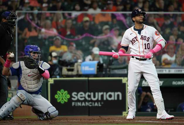 Houston Astros first baseman Yuli Gurriel (10) reacts after a strike during the first inning of an MLB game Sunday, May 9, 2021, at Minute Maid Park in Houston. Photo: Jon Shapley, Staff Photographer / © 2021 Houston Chronicle