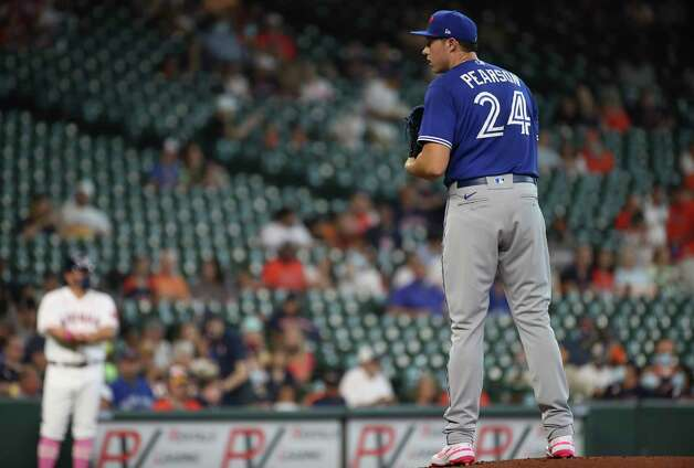 Toronto Blue Jays starting pitcher Nate Pearson (24) pitches during the first inning of an MLB game Sunday, May 9, 2021, at Minute Maid Park in Houston. Photo: Jon Shapley, Staff Photographer / © 2021 Houston Chronicle