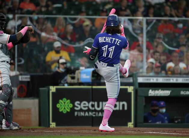 Toronto Blue Jays shortstop Bo Bichette (11) strikes out during the first inning of an MLB game Sunday, May 9, 2021, at Minute Maid Park in Houston. Photo: Jon Shapley, Staff Photographer / © 2021 Houston Chronicle