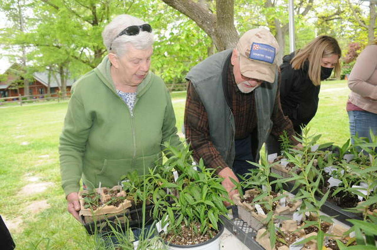 Dee and Brent Schindewolf of Godfrey have their hands full with purchases during Saturday's Wildflower Market sat The Nature Institute. All of the money raised will go toward TNI's mission of fostering preservation, restoration and education.