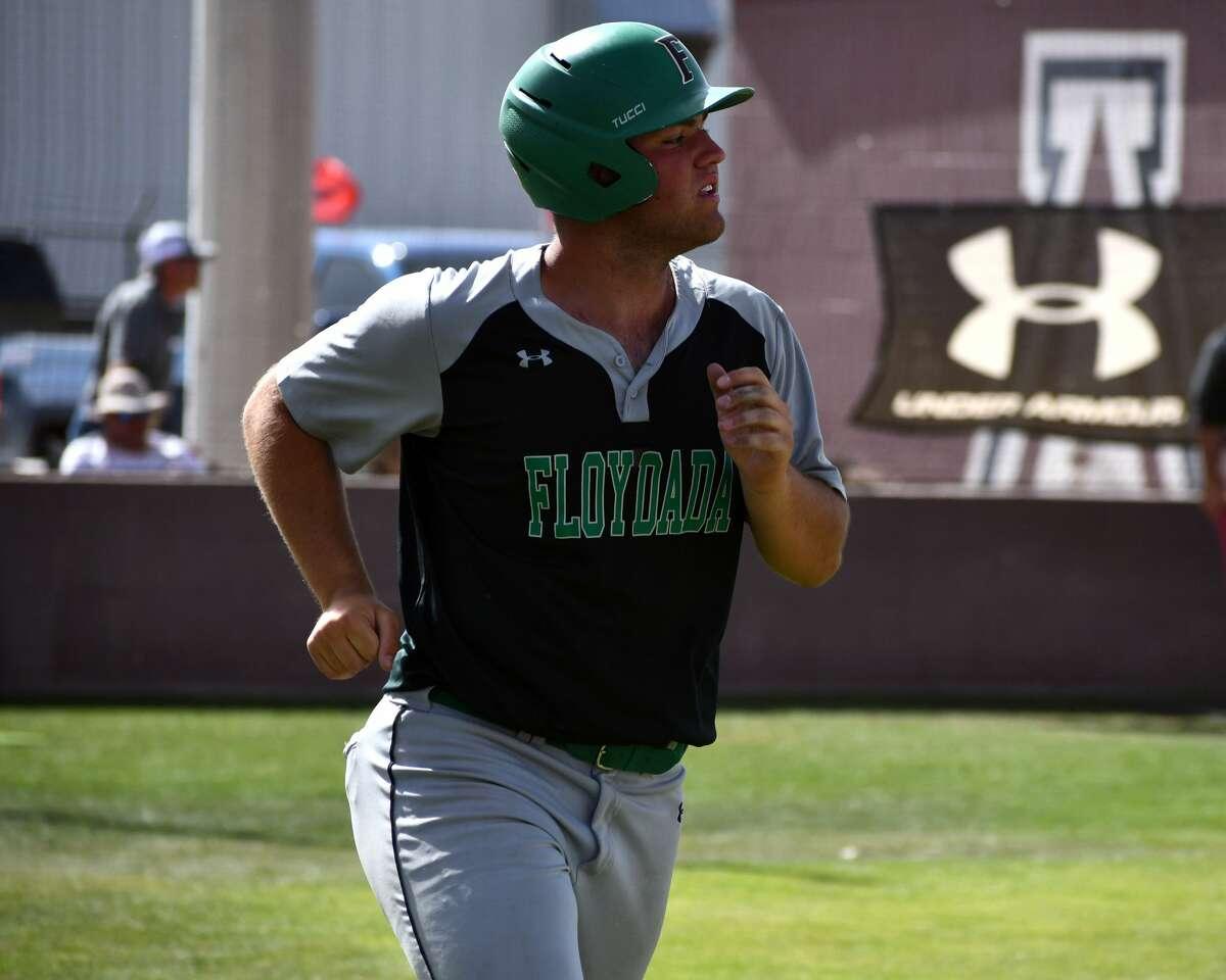 Floydada's Luke Holcombe looks on has his home run clears the fence on Saturday at Abernathy.