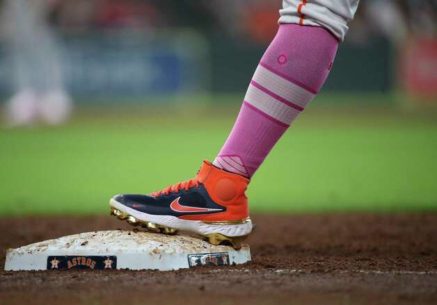 Houston Astros shortstop Robel Garcia (9) stands on first during the third inning of an MLB game Sunday, May 9, 2021, at Minute Maid Park in Houston. Photo: Jon Shapley, Staff Photographer / © 2021 Houston Chronicle