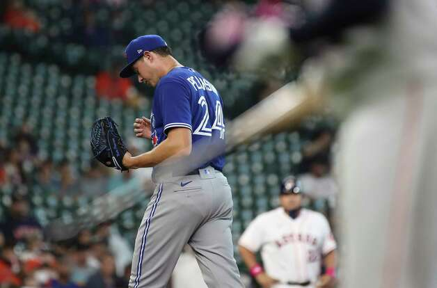 Toronto Blue Jays starting pitcher Nate Pearson (24) reacts after he was removed during the third inning of an MLB game Sunday, May 9, 2021, at Minute Maid Park in Houston. Photo: Jon Shapley, Staff Photographer / © 2021 Houston Chronicle
