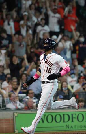 Houston Astros first baseman Yuli Gurriel (10) scores during the third inning of an MLB game Sunday, May 9, 2021, at Minute Maid Park in Houston. Photo: Jon Shapley, Staff Photographer / © 2021 Houston Chronicle