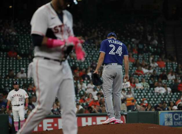 Toronto Blue Jays starting pitcher Nate Pearson (24) reacts after walking a hitter during the third inning of an MLB game Sunday, May 9, 2021, at Minute Maid Park in Houston. Photo: Jon Shapley, Staff Photographer / © 2021 Houston Chronicle