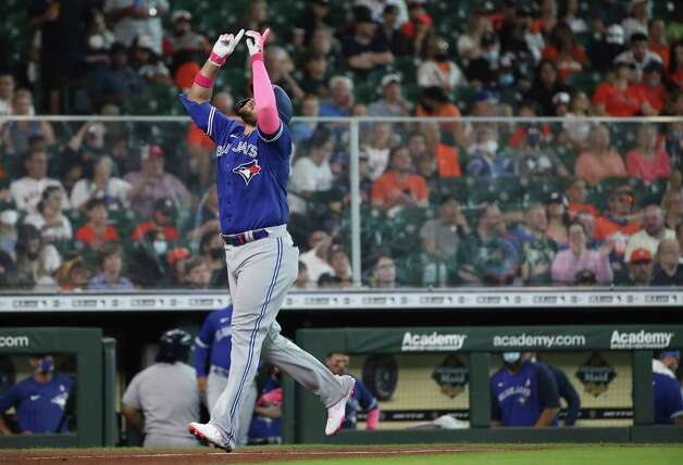 Toronto Blue Jays first baseman Rowdy Tellez (44) celebrates after hitting a home run during the fifth inning of an MLB game Sunday, May 9, 2021, at Minute Maid Park in Houston. Photo: Jon Shapley, Staff Photographer / © 2021 Houston Chronicle