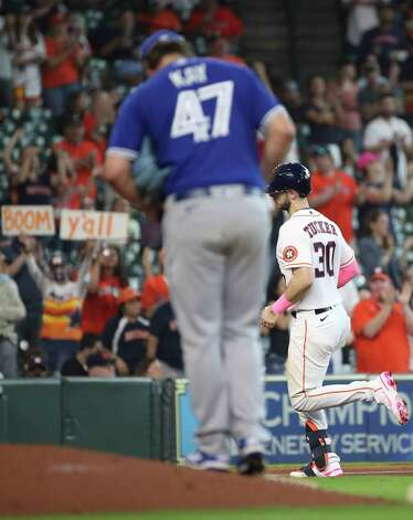 Houston Astros right fielder Kyle Tucker (30) rounds the bases after hitting a home run during the fourth inning of an MLB game Sunday, May 9, 2021, at Minute Maid Park in Houston. Photo: Jon Shapley, Staff Photographer / © 2021 Houston Chronicle