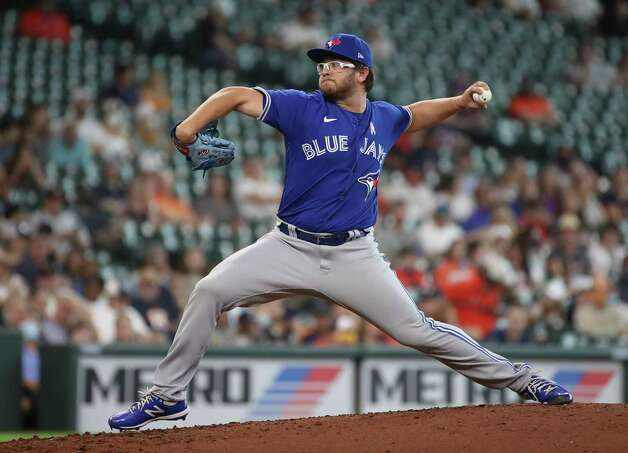 Toronto Blue Jays starting pitcher Anthony Kay (47) pitches during the fourth inning of an MLB game Sunday, May 9, 2021, at Minute Maid Park in Houston. Photo: Jon Shapley, Staff Photographer / © 2021 Houston Chronicle