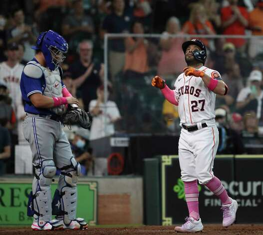 Houston Astros second baseman Jose Altuve (27) celebrates after hitting a home run during the fourth inning of an MLB game Sunday, May 9, 2021, at Minute Maid Park in Houston. Photo: Jon Shapley, Staff Photographer / © 2021 Houston Chronicle