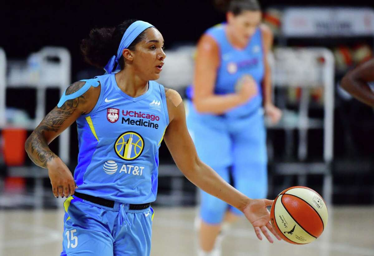 Gabby Williams #15 of the Chicago Sky dribbles up court in the first half against the Connecticut Sun during Game One of their First Round playoff at Feld Entertainment Center on September 15, 2020 in Palmetto, Florida. (Photo by Julio Aguilar/Getty Images/TNS)