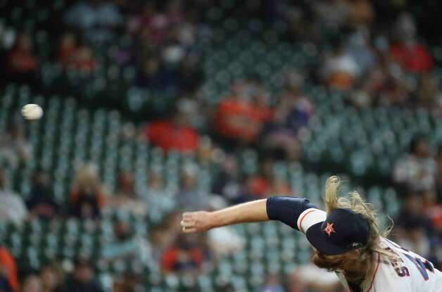 Houston Astros relief pitcher Ryne Stanek (45) pitches during the seventh inning of an MLB game Sunday, May 9, 2021, at Minute Maid Park in Houston. Photo: Jon Shapley, Staff Photographer / © 2021 Houston Chronicle